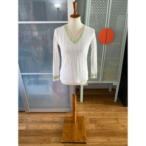 Lilly Pulitzer Cable Knit V Neck Sweater
